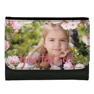 Custom Photo and Text Pink Cherry Blossoms Border Women's Wallets