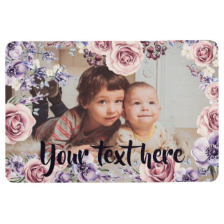 Custom Photo and Text Pink Roses Border Floor Mat