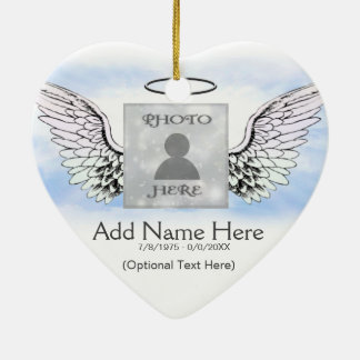 Custom Photo Angel Wings and Heart Memorial Christmas Ornament