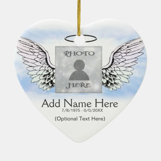 Custom Photo Angel Wings and Heart Memorial Christmas