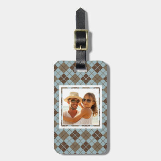 Custom Photo Argyle Pattern in Blue and Taupe Luggage Tag