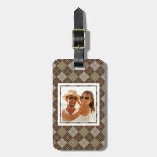 Custom Photo Argyle Pattern Luggage Tag