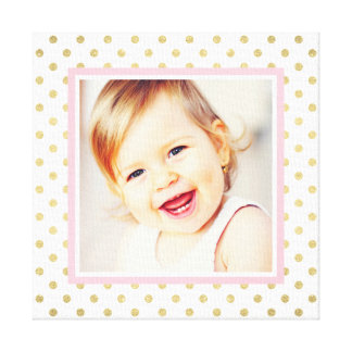 Custom Photo Baby Nursery Art | Patterned Frame Stretched Canvas Print
