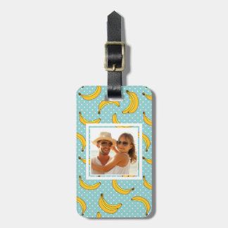 Custom Photo Bananas And Polk Dots Luggage Tag