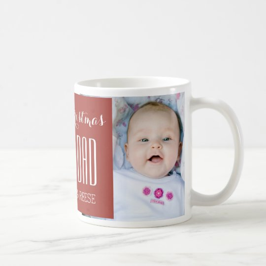 Custom Photo Best Dad Christmas Mug Red