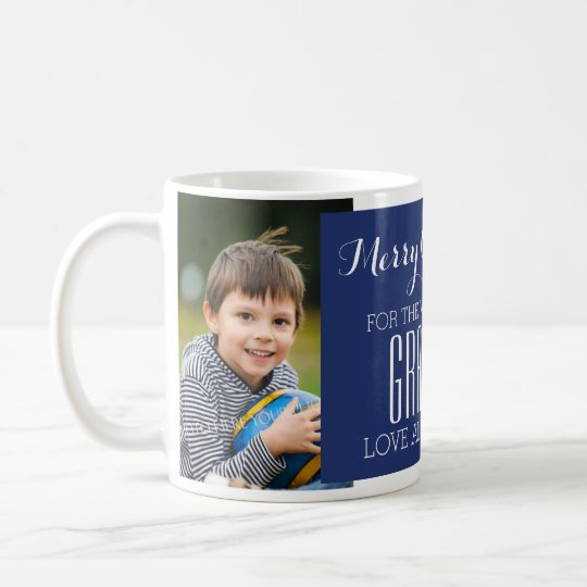 Custom Photo Best Grandpa Christmas Mug Blue