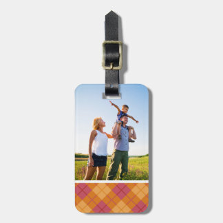 Custom Photo Bias Plaid in Orange and Pink Luggage Tag