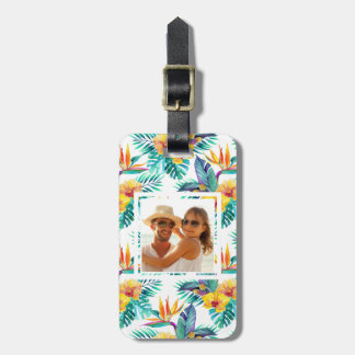 Custom Photo Bird Of Paradise & Orchid Pattern Luggage Tag