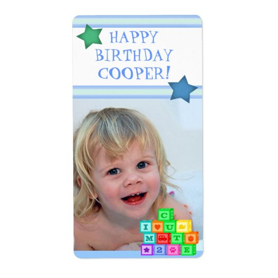 Custom Photo Birthday Boy Gift Label
