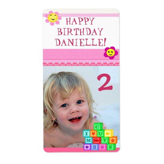Custom Photo Birthday Girl Gift Label