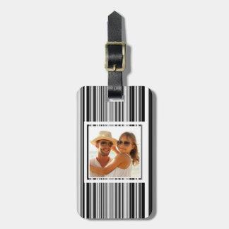 Custom Photo Black And White Lines Luggage Tag