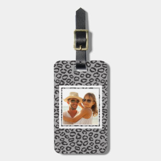 Custom Photo Black lace with leopard pattern Luggage Tag