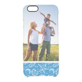 Custom Photo Blue Beach Pattern Clear iPhone 6/6S Case