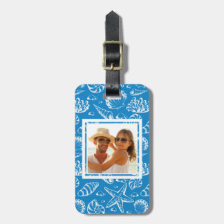 Custom Photo Blue Beach Pattern Luggage Tag