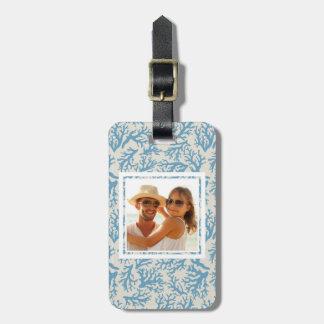 Custom Photo Blue Coral Pattern Luggage Tag