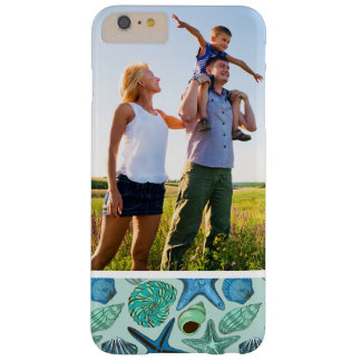 Custom Photo Blue Seashells & Starfish Pattern Barely There iPhone 6 Plus Case