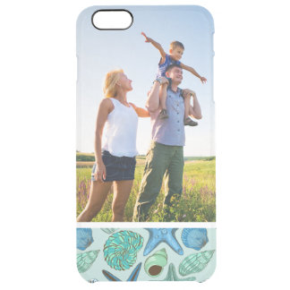 Custom Photo Blue Seashells & Starfish Pattern Clear iPhone 6 Plus Case