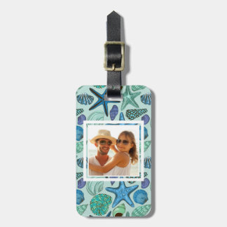 Custom Photo Blue Seashells & Starfish Pattern Luggage Tag