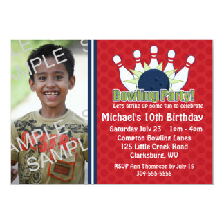 Custom Photo Bowling Birthday Party Card