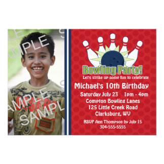 Custom Photo Bowling Birthday Party Personalised Invite