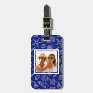 Custom Photo Bright Blue Shell Pattern 2 Luggage Tag