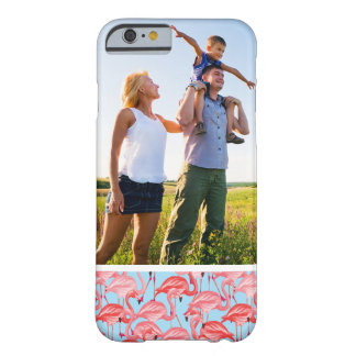 Custom Photo Bright Pink Flamingos On Blue Barely There iPhone 6 Case