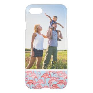 Custom Photo Bright Pink Flamingos On Blue iPhone 8/7 Case