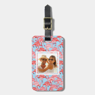 Custom Photo Bright Pink Flamingos On Blue Luggage Tag