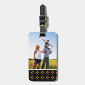 Custom Photo Bright Polka Dot Pattern Bag Tag