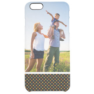 Custom Photo Bright Polka Dot Pattern Clear iPhone 6 Plus Case