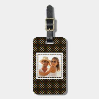 Custom Photo Bright Polka Dot Pattern Luggage Tag