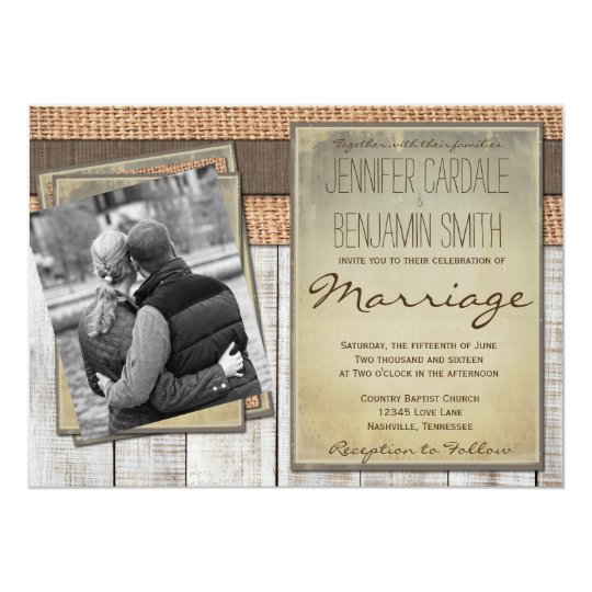 Custom Photo Burlap Barn Wood Wedding Invitations