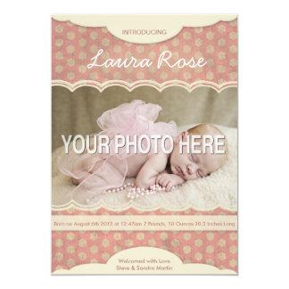 Custom Photo Card - Baby Girl Birth Announcement