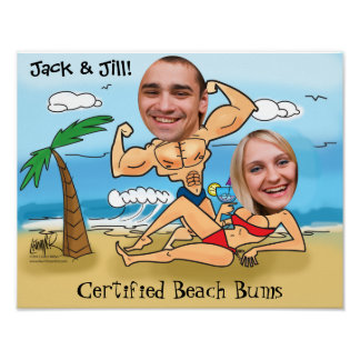 Custom Photo Caricature-Couples Beach Scene Poster