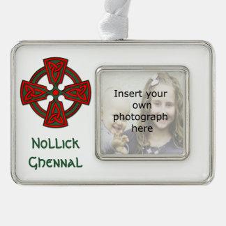 Custom Photo Celtic Cross Manx Xmas Ornament Silver Plated Framed Ornament