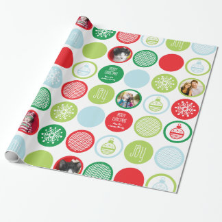 Custom Photo Christmas Dots Gift Wrap Wrapping Paper