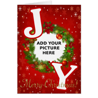 Custom photo Christmas JOY add your picture wreath Card