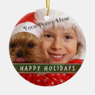 Custom Photo Christmas Round Ceramic Decoration