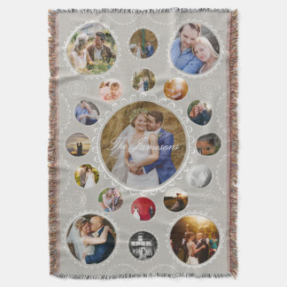 Custom Photo Circular Collage Create Your Own Throw Blanket