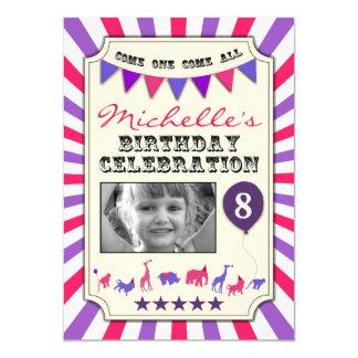 "Custom Photo Circus Birthday Party Invitations 5"" X 7"" Invitation Card"