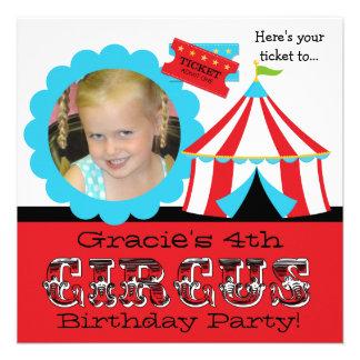 Custom Photo Circus Ticket Birthday Invitation