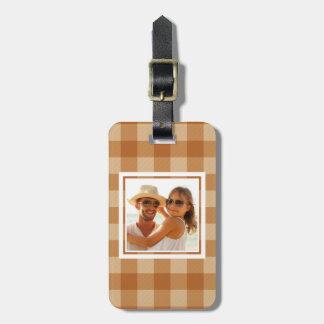Custom Photo Classic brown plaid checkered cloth Luggage Tag