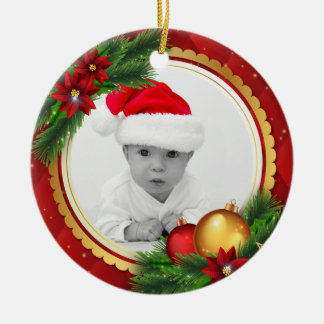 Custom Photo Classic Christmas Add Baby Pet Family Christmas Ornament