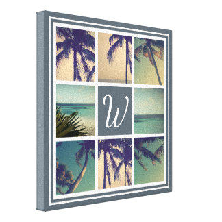Custom photo collage canvas print with monogram