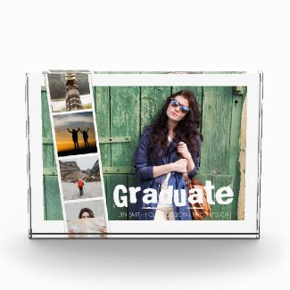 Custom Photo Collage Modern Graduation Typography. Acrylic Award