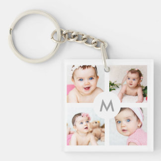 Custom Photo Collage Monogram White 4 Images Key Ring