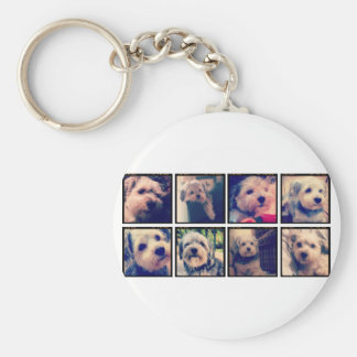 Custom Photo Collage with Square Photos Basic Round Button Key Ring