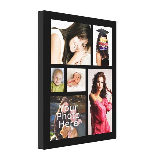 "Custom Photo Collage Wrapped Canvas, 1.5"" Depth Canvas"