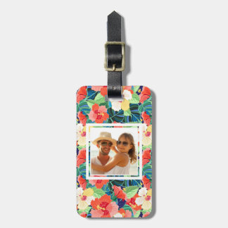 Custom Photo Colorful Hibiscus Pattern Luggage Tag