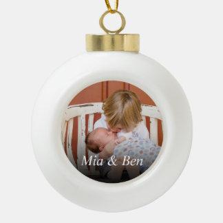Custom Photo Create Your Own Ceramic Ball Christmas Ornament